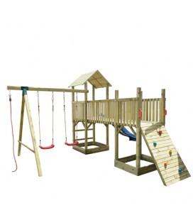 Esterni da Vivere Gioco Torre Doppia, pino impregnato in autoclave, 410 x 480 x 280 cm, campo gioco complessa