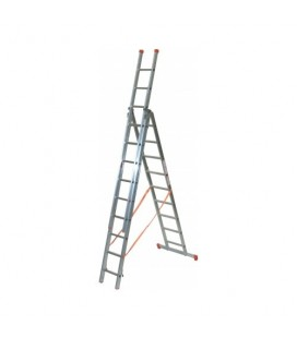 FACAL 3X 9 GENIA Scala trasformabile a tre rampe Genia Chiusa 299 cm - Aperta 720 cm - a cavalletto 285 cm portata 150 Kg EN1...