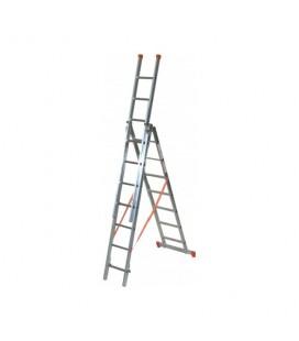FACAL 3X 7 GENIA Scala trasformabile a tre rampe Genia Chiusa 249 cm - Aperta 510 cm - a cavalletto 225 cm portata 150 Kg EN1...