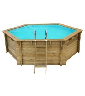 Esterni da Vivere Piscina Esagonale Ø 360 cm, Pino, piscina fuori terra in legno