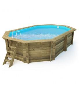 Esterni da Vivere Piscina Ottagonale 486 x 336 cm, Pino, piscina fuori terra in legno