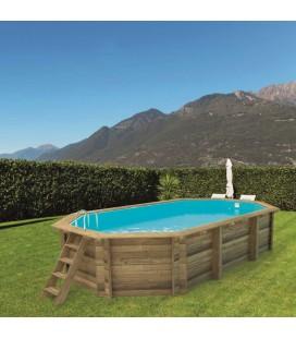 Esterni da Vivere Piscina Ottagonale 657 x 407 cm, Pino, piscina fuori terra in legno