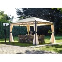 Gazebo in metallo Greenwood mt 3x4 con tende