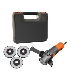 Black&Decker BEG210KAC3 Smerigliatrice angolare 900W 115 mm con tecnologia No-Volt Release e Soft Start con valigetta e 3 dis..
