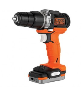 "Black&Decker BDCHD12S1 Trapano avvitatore a percussione con batteria ""power bank"" Litio 12V 1,5 Ah e soft bag"