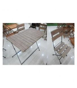 Amicasa DT-SET095 Set Tavolo con sedie Bistrò Washed: Tavolo 120x70 cm e 4 Sedie