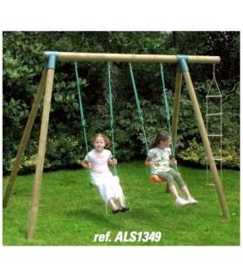 New Plast ALS1349 Set FIORDALISO: 2 altalene + scala in corda. Altezza 235 cm. Larghazza max 300 cm.